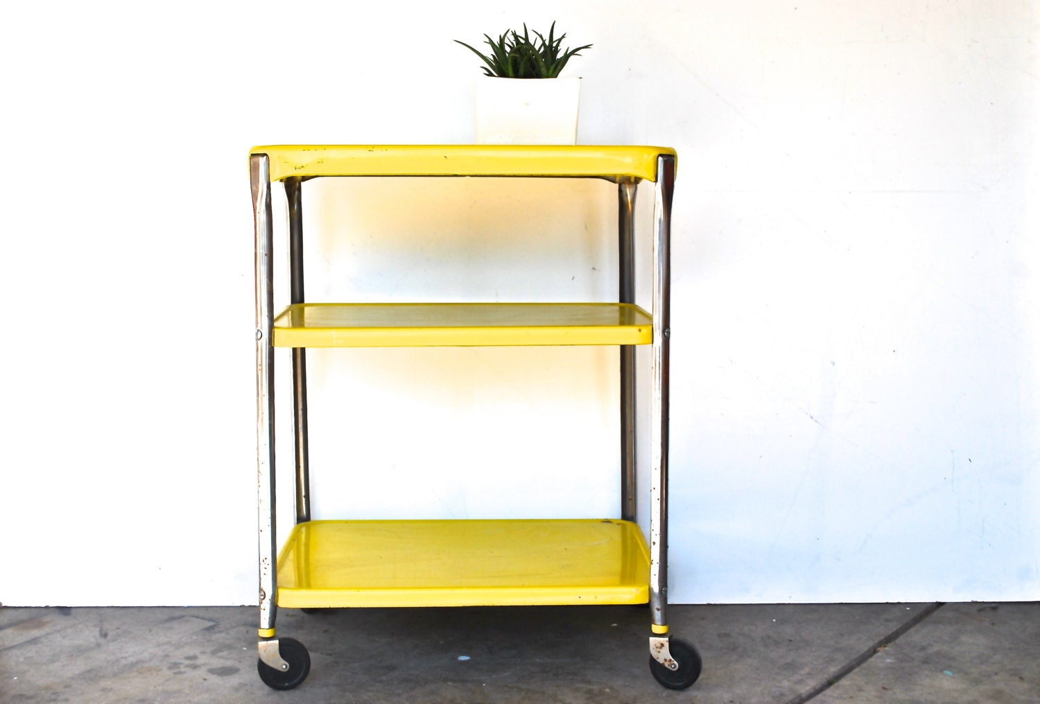 vintage rolling kitchen cart bright yellow and by charliesnest