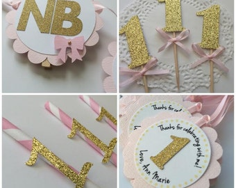 Pink and Gold First Birthday Party Package.  Photo Banner, Favor Tags, Paper Straws and Cupcake Toppers