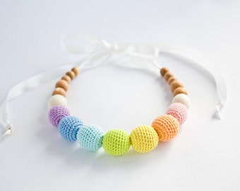 Pastel Rainbow Nursing Necklace - Breastfeeding, Babywearing, Organic Baby Teether, for mom to wear, eco-friendly - FrejaToys