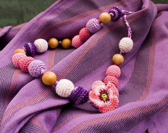 Eva Nursing Necklace - pink, lilac - babywearing, bay shower gift, for mom to wear, baby teether, Mother's Day gift - FrejaToys