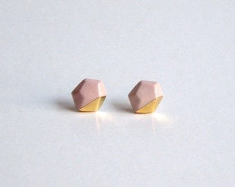 Porcelain faceted geo stud earrings- pastel pink and 24k gold luster, geometric post earrings jewelry, gift for her