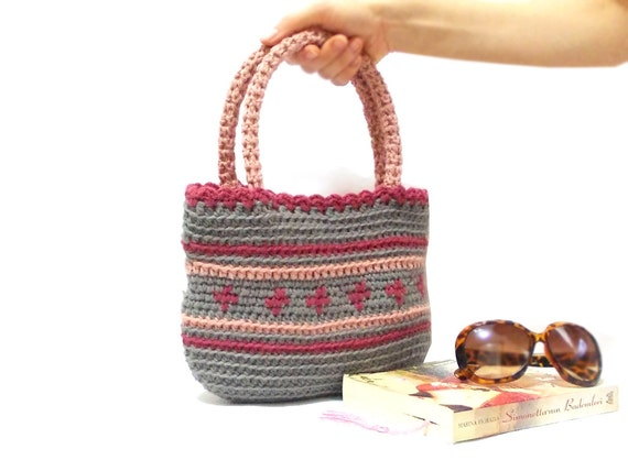... bag, Green bag, Pink, Midi crochet bag, Handmade purse, Mini crochet