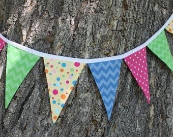 FABRIC PENNANT BANNER / fabric garland / pennant fabric flag banner / kid birthday flag bunting / gender neutral / chevron dot / 9 feet