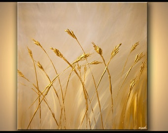 """Modern Landscape Abstract Gold on Cream Sheaves Original Acrylic Painting by Osnat 36""""  - MADE-TO-ORDER"""