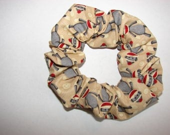 Sock Monkey tan fabric Hair Scrunchie, women's accessories, womans scrunchies, gifts for her, girls hair ties, sock monkey lovers gifts