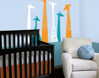 Giraffe Nursery Wall Decal - Custom Color Giraffe Nursery Decor to match Giraffe Crib Bedding