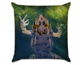 """Missy's Frog 1 - Original Photo Sofa Throw Pillow Envelope Cover for 18"""" inserts"""