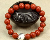 Red Jasper Stacking Bracelet with Silver Greek Bead, Stretch Bracelet, Red Bracelet, Jasper Bracelet, Valentine's Day Gift