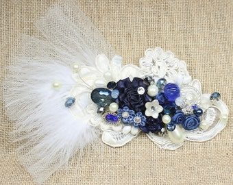 Blue & Ivory Bridal Hair Comb- Ivory and Sapphire Hair Piece- Cobalt blue bridal comb- Floral Wedding Hair Accessories- Fascinator-Blue Comb