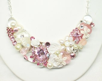 Pink Bridal Necklace- Statement Necklace- bridal Necklace- Pink Bridal Bib- Bridesmaid necklace- Sweetheart Pink Bridal Bib-Wedding Necklace