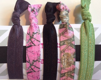 Pink Camo Collection Elastic Hair Ties Bracelets - No Crease No Pull - Soft Comfy