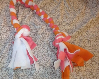 SALE Pink White and Orange Dog Tug Toy 09
