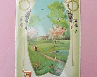 Lovely Edwardian Era Birthday Postcard with Pretty Country Spring Scene