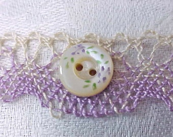 Charming Little Hand Painted Victorian Era Mother-of-Pearl Button