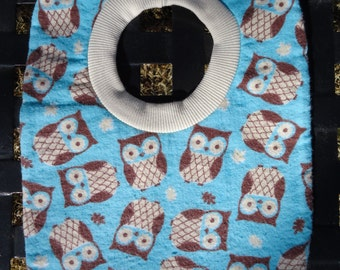 Owls Pull Over Baby Boy Bib Blue
