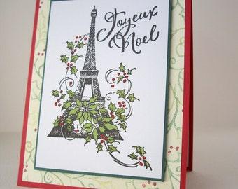 handmade christmas card, joyeux noel card, french christmas card, hand stamped christmas card, holiday greeting card