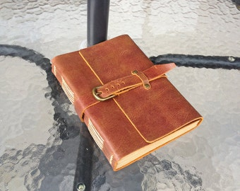 ONLY 1PCS Leather Journal Diary with Strap Vintage Buckle A5 Blank Craft Paper Red Brown Gift