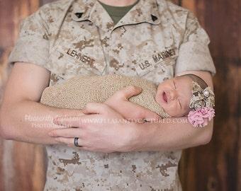 Marine Corps Military inspired headband, newborn headband, photo prop, Army headbands, camo headbands, NWU, MARPAT, ACU