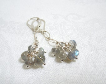 Gemstone Cluster Earrings: Blue Flash Labradorite, Sterling Silver Chain, Sterling Silver Lever Back Ear Wires