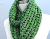 Chunky Green Purple Cowl, Wool Infinity Scarf, Hand Knit Accessory