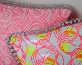 Double-sided Hand Printed Cushion - Orbit and Oasis in Neon Pink and Neon Yellow