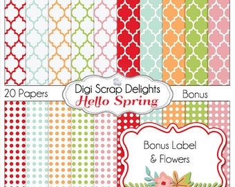 Spring  Digital Papers w Bonus Clip Art, Label & Flowers Scrapbooking Paper: Pink, Aqua Blue, Red, Orange, Green Pattern Flowers