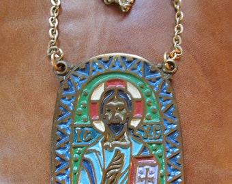 Vintage Pendant Christ Risen From The Dead Medal Icon  on Chain Necklace