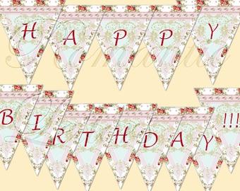"""Printable """"Happy Birthday"""" digital banner birthday party digital vintage Shabby Chic digital printable banner baby girls birthday"""