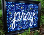 "Mardi Gras bead ""Pray"" framed original bead art 8x10, blue and white, Mardi Gras decor,  inspirational art, Mother""s Day, Easter, faith art"