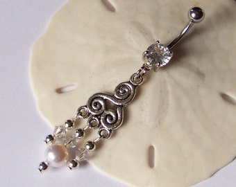 Belly Button Ring - Belly Button Jewelry - Belly Ring - Pearl and Swarovski Crystal Swirl Drop Belly Ring