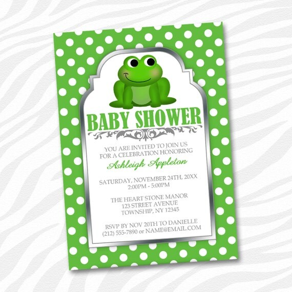 printable frog baby shower invitations cute froggy green polka dot