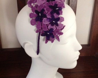 Hand dyed purple lace headpiece
