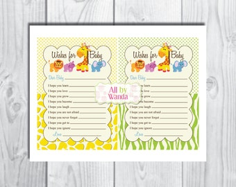 Safari/Jungle Baby Shower Wish Card-Wishes for Baby -Well Wishes Card-INSTANT DOWNLOAD