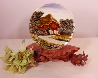 Zell German Majolica Cottage Wall Plate