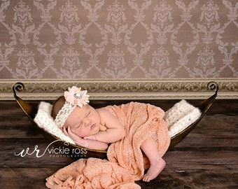 Vintage Georgia Peach Lace Baby Headband Photography Prop