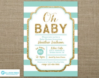 Gold Baby Shower Invitation - Gold and mint Baby Shower Invitation - Gold Glitter - Oh Baby - Girl Baby Shower - Baby Shower Printable