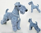 103 Kerry Blue Terrier dog with wire frame - Amigurumi Crochet Pattern PDF file by Chirkova Etsy
