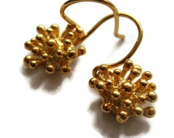 18K Solid Gold Earrings, Starburst Small Dangle Drop Earrings, Gold Flower Earrings, Artisan Handmade by Sheri Beryl