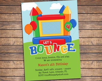 Bounce House Invitation: Printable Kids Birthday Party Invites for Boy or Girl, Inflatable Bouncy Ball Party