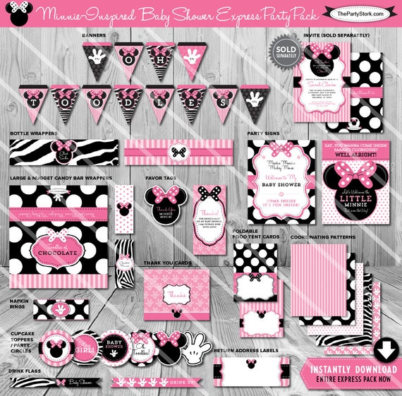 Minnie mouse baby shower party package printable baby for Baby minnie mouse decoration ideas