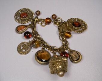 Chunky Bohemian Charm Bracelet, Bold Gold Tone, Dark Amber