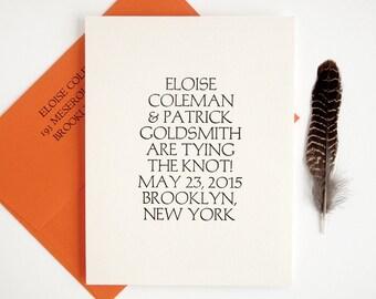 Palatino Letterpress Save the Date - Modern Wedding / Bold Typography - Bright Orange