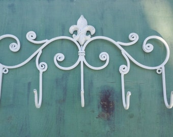 Creamy White Wall Hook/ Shabby Chic Decor/ Fleur de Lis/ Coat Rack/ Bathroom Hook / Towel Hook /Decorative Wall Hook