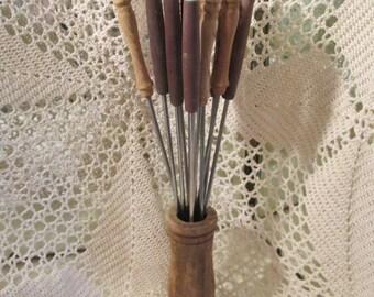 Vintage Wood Handle Fondue Forks With Holder