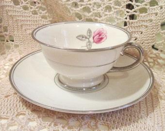 Vintage Gladding McBean Franciscan Huntington Rose Pattern Cup and Saucer