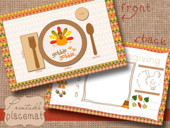 Kids Printable Thanksgiving Placemat