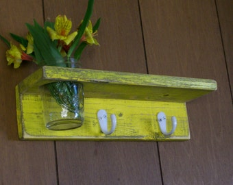 Distressed Wood  Coat Rack Shelf Key Hanger Hooks with Vase