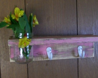 Shabby Wood Shelf Coat Hanger with Vase