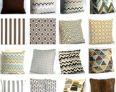Fabric Sample - Brown, Tan and Grey - Pick Solid and Print Fabric Swatches for Decorative Throw Cushions - COUPON Included