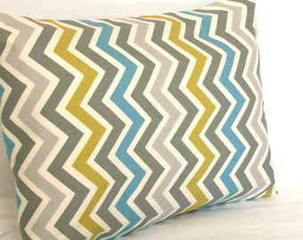 Blue Grey Lumbar Pillow Cover - 12x20, 14x20 or 16x20 inch Chevron Travel Cushion Cover - Blue Citrine-Yellow Grey Zig Zag